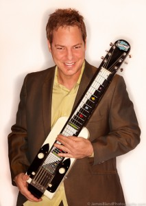 Musician Kevin Afflack with Lap Steel guitar
